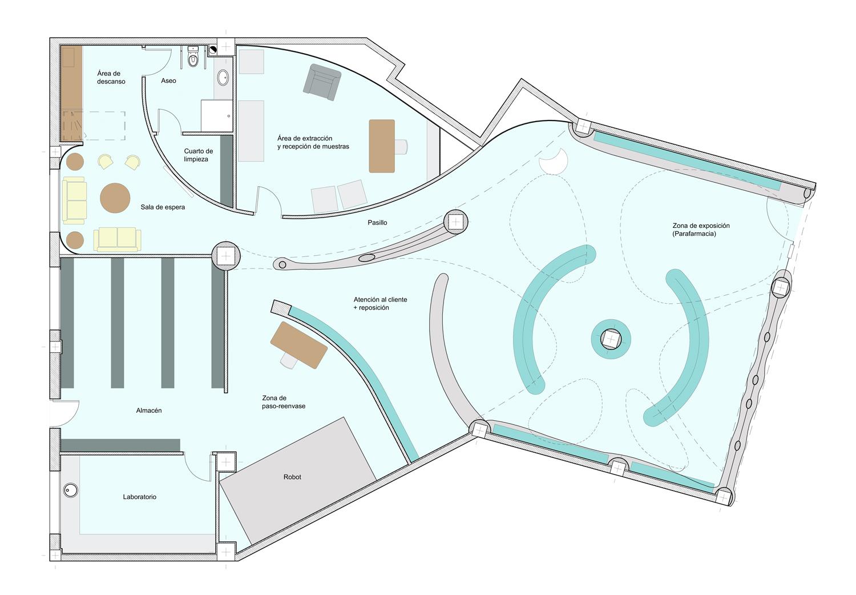 Farmacia andrea mart n for Planta arquitectonica de una oficina